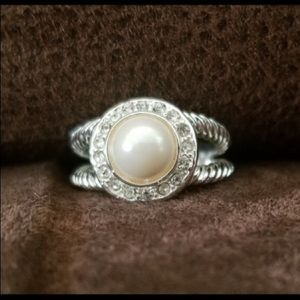 Pearl cocktail ring with Swarovski crystals